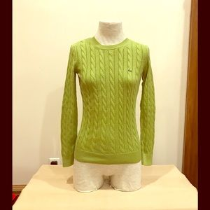 Vintage 1990's Lacoste green cableknit sweater